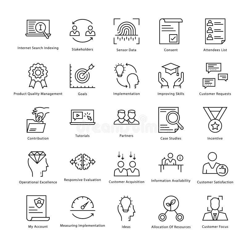 Gestión de negocio y línea iconos 29 del vector del crecimiento stock de ilustración