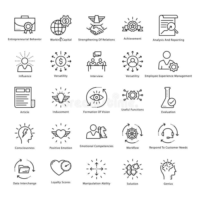 Gestión de negocio y línea iconos 38 del vector del crecimiento libre illustration