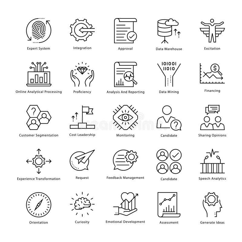 Gestión de negocio y línea iconos 37 del vector del crecimiento ilustración del vector