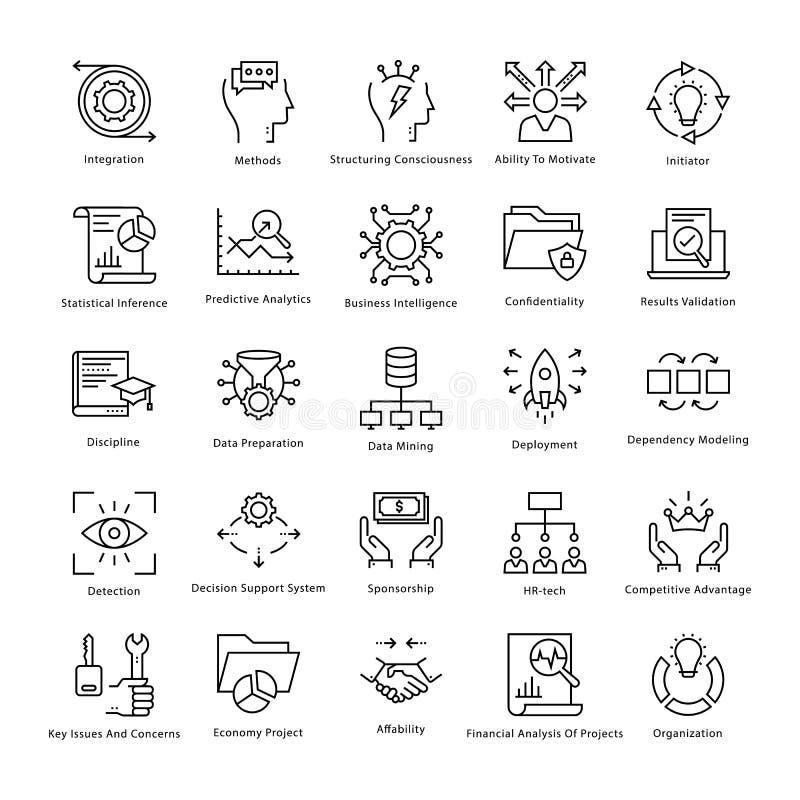 Gestión de negocio y línea iconos 39 del vector del crecimiento stock de ilustración