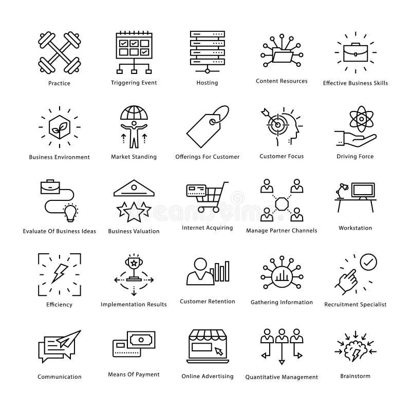 Gestión de negocio y línea iconos 49 del vector del crecimiento libre illustration