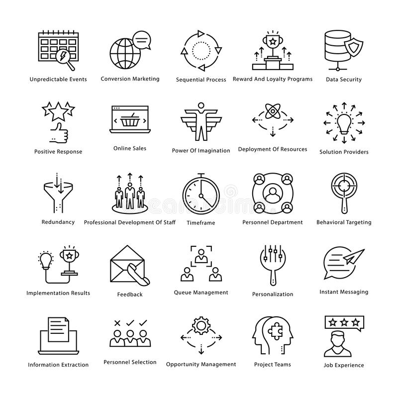 Gestión de negocio y línea iconos 50 del vector del crecimiento ilustración del vector