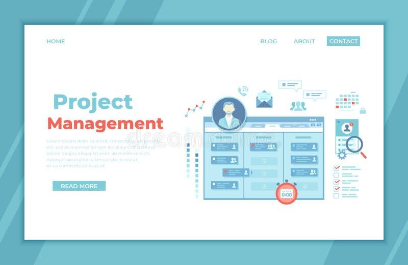 Gestión de proyectos Servicio de aplicación para el manejo corporativo, control del equipo, encargado Distribución eficaz de tare ilustración del vector