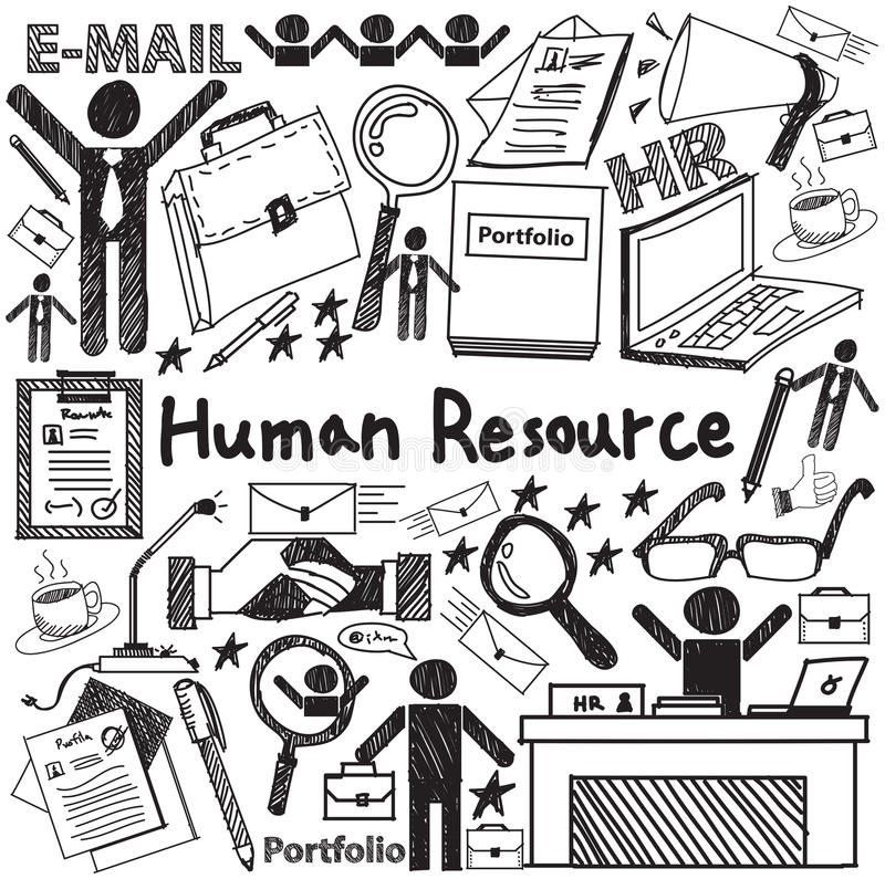 Gestión de recursos humanos en icono del garabato de la escritura de la organización stock de ilustración