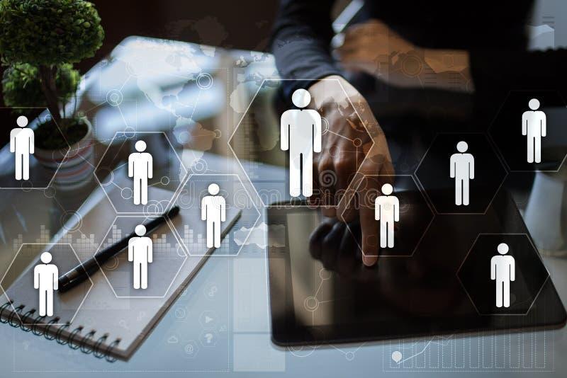 Gestión de recursos humanos, hora, reclutamiento, dirección y el teambuilding imagenes de archivo
