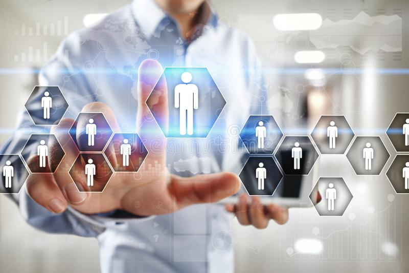 Gestión de recursos humanos, hora, reclutamiento, dirección y el teambuilding Concepto del negocio y de la tecnología imágenes de archivo libres de regalías