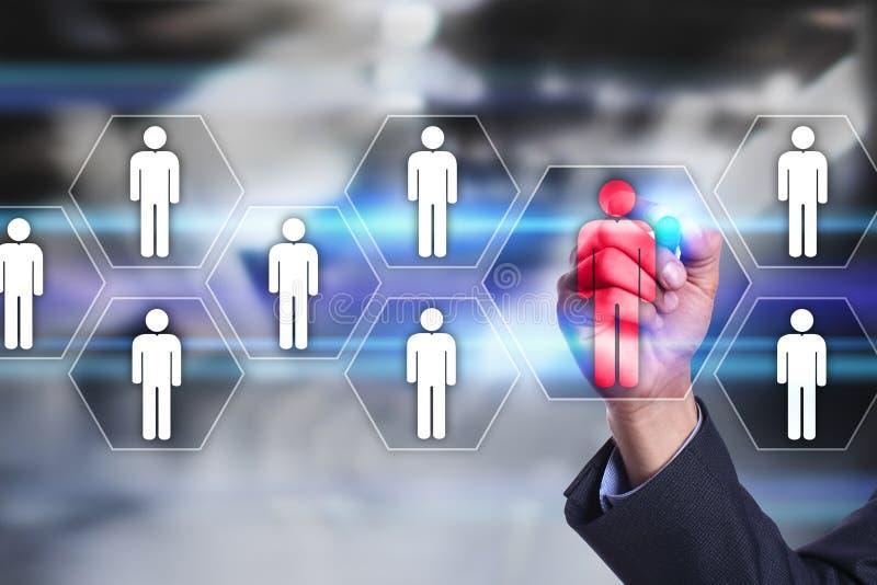 Gestión de recursos humanos, hora, reclutamiento, dirección y el teambuilding Concepto del negocio y de la tecnología foto de archivo