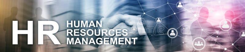Gestión de recursos humanos, hora, Team Building y concepto del reclutamiento en fondo borroso Portada del sitio web foto de archivo