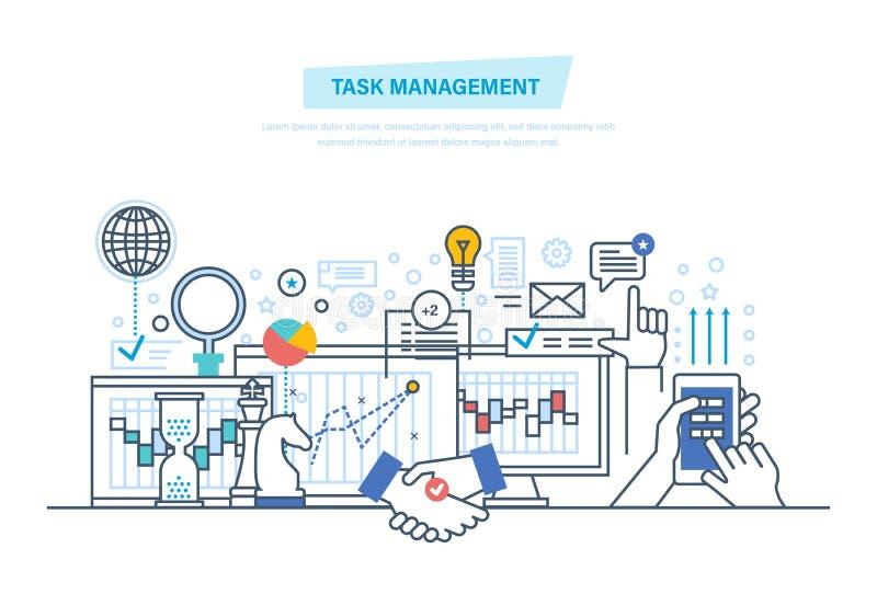 Gestión de tarea, multitask Gestión de tiempo, control Análisis, investigación, estrategia de marketing ilustración del vector