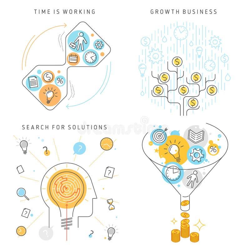 Gestión de tiempo, búsqueda para las soluciones, concepto v del negocio del crecimiento stock de ilustración