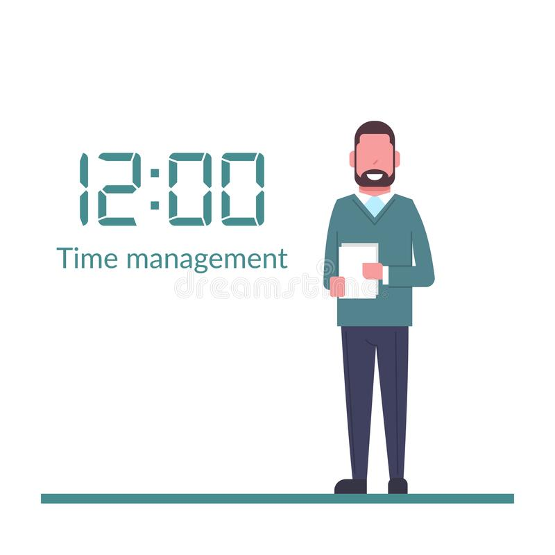 Gestión de tiempo, control Aislado en fondo El hombre de negocios picó cerca del reloj digital enorme Organización de proceso stock de ilustración