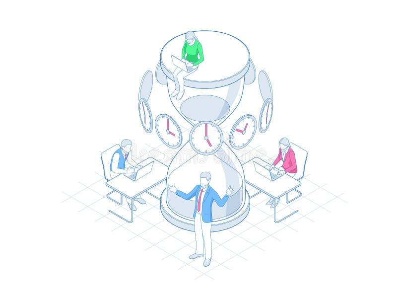 Gestión de tiempo eficaz isométrica en concepto del esquema Gestión de tiempo, planeamiento, y organización de hora laborable ilustración del vector