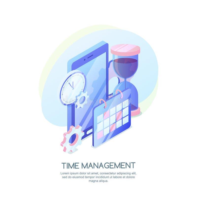 Gestión de tiempo, estrategia empresarial, concepto de planificación Vector el ejemplo isométrico 3d del horario app móvil ilustración del vector