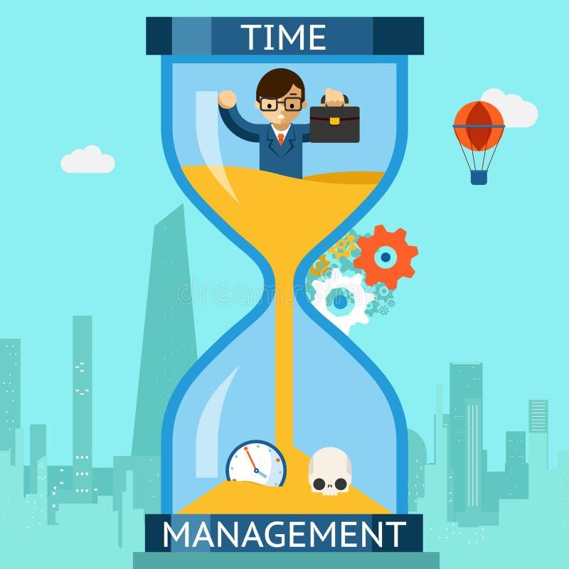 Gestión de tiempo Hombre de negocios que se hunde en reloj de arena ilustración del vector