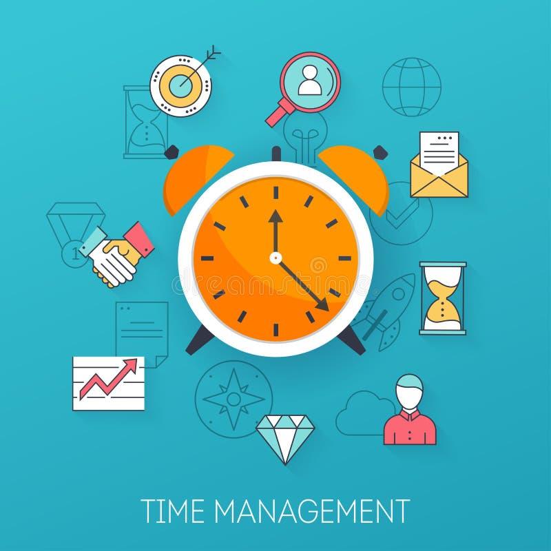 Gestión de tiempo Planeamiento, organización de la época del día laborable fla libre illustration