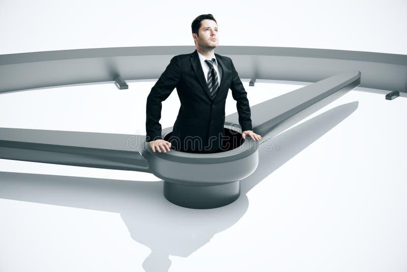 Gestión de tiempo que ahoga al hombre de negocios ilustración del vector