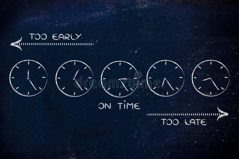 Gestión de tiempo y horario el crear: temprano, tarde y el tiempo imagenes de archivo