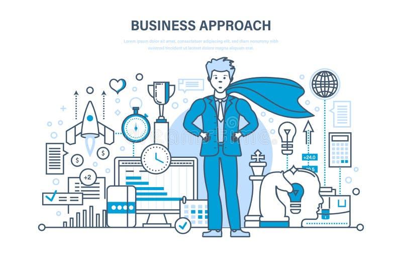 Gestión del acercamiento y del proyecto, del control y de tiempo del negocio, márketing, análisis ilustración del vector