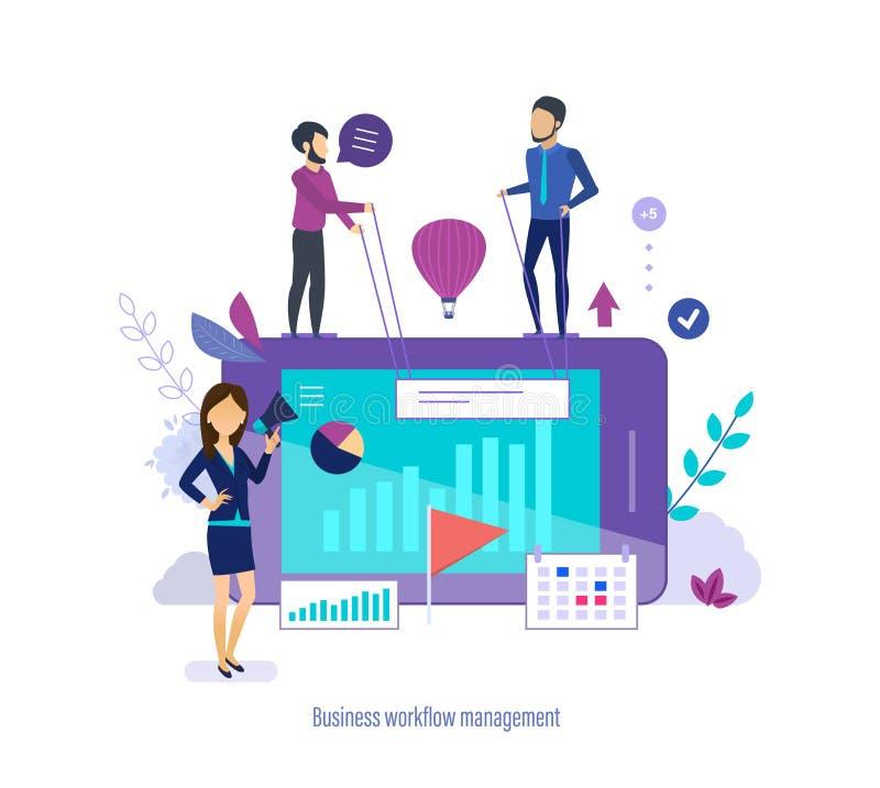 Gestión del flujo de trabajo del negocio Gestión de tiempo, tarea que planea, hora laborable de la organización stock de ilustración