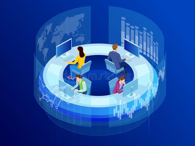 Gestión del proceso del analytics de los datos de negocio o tablero de instrumentos isométrica de la inteligencia en la pantalla  ilustración del vector