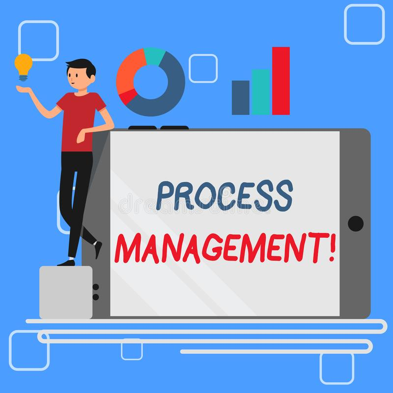 Gestión del proceso del texto de la escritura El significado del concepto que alinea procesos con una organización s es hombre de stock de ilustración