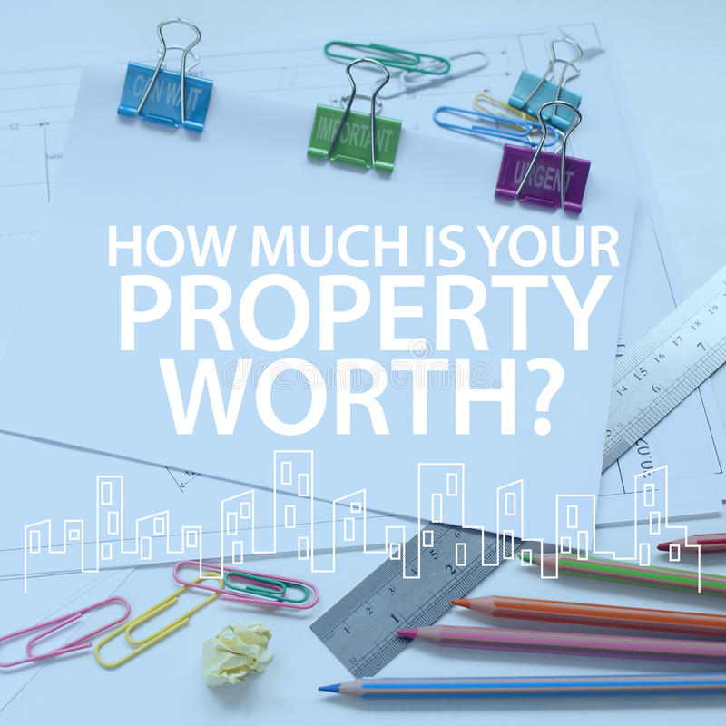 Gestión inmobiliaria del valor de una propiedad foto de archivo