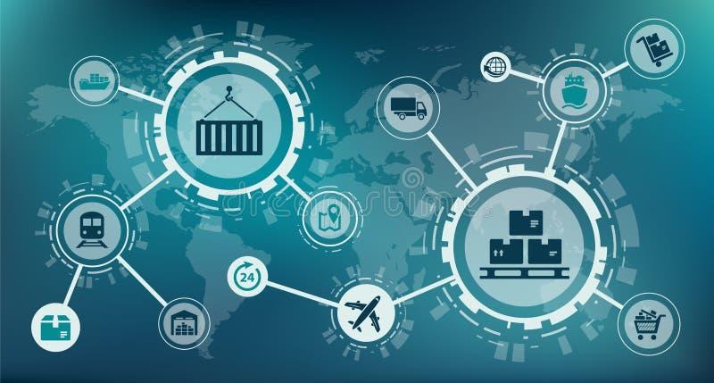 Gestión moderna de la logística/de la cadena de suministro/entrega de mercancías - ejemplo libre illustration