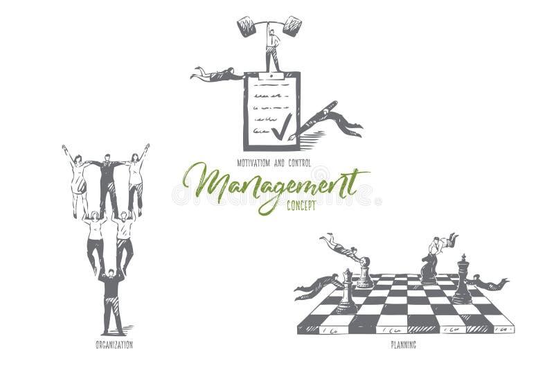 Gestión, motivación y control, organización, bosquejo de planificación del concepto stock de ilustración