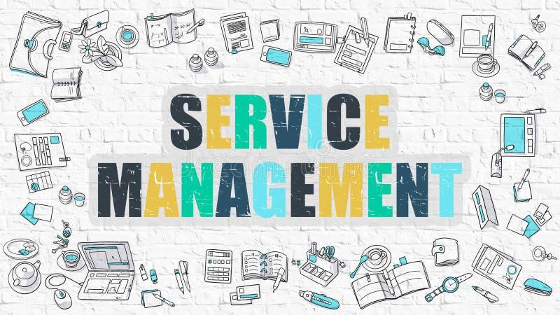 Gestión multicolora del servicio en Brickwall blanco libre illustration
