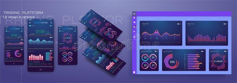 Gestión responsiva del diseño plano y plantilla móvil de Dashbord UI app de la administración en fondo moderno de moda stock de ilustración