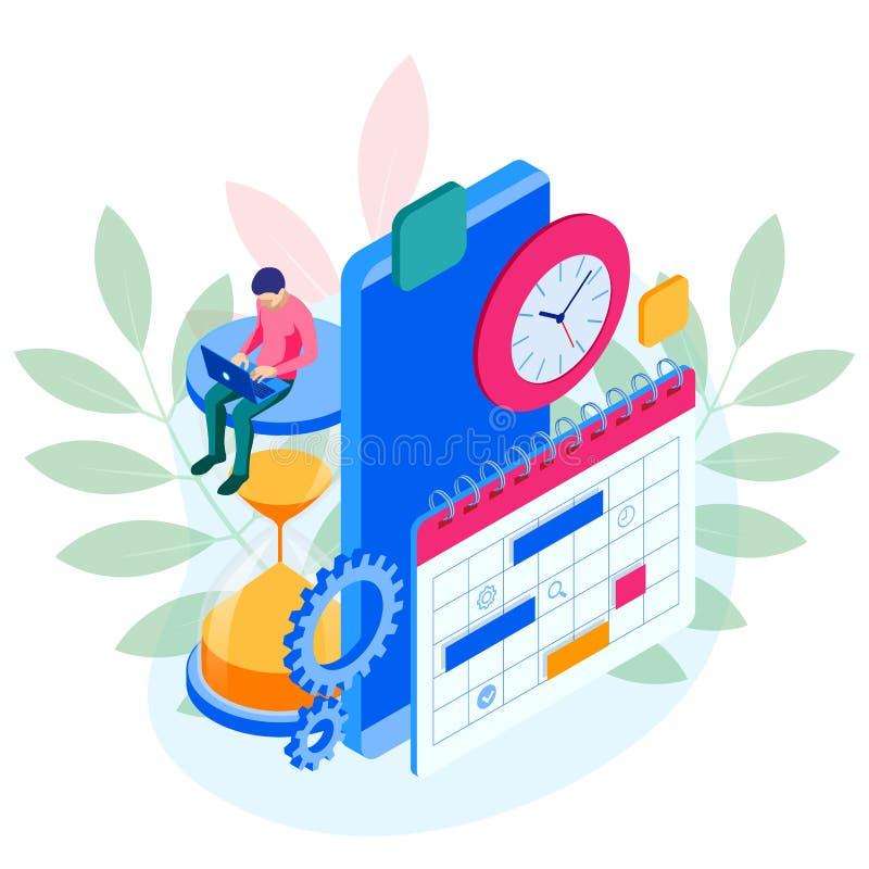 Gestión semanal en línea isométrica de la organización del planificador del horario y del calendario en smartphone Flujo de traba stock de ilustración