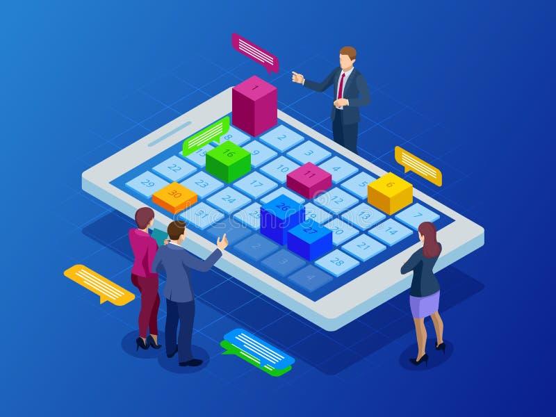 Gestión semanal en línea isométrica de la organización del planificador del horario y del calendario en smartphone o la tableta N libre illustration