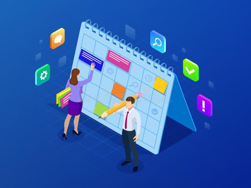 Gestión semanal isométrica de la organización del planificador del horario y del calendario Flujo de trabajo en línea del negocio ilustración del vector
