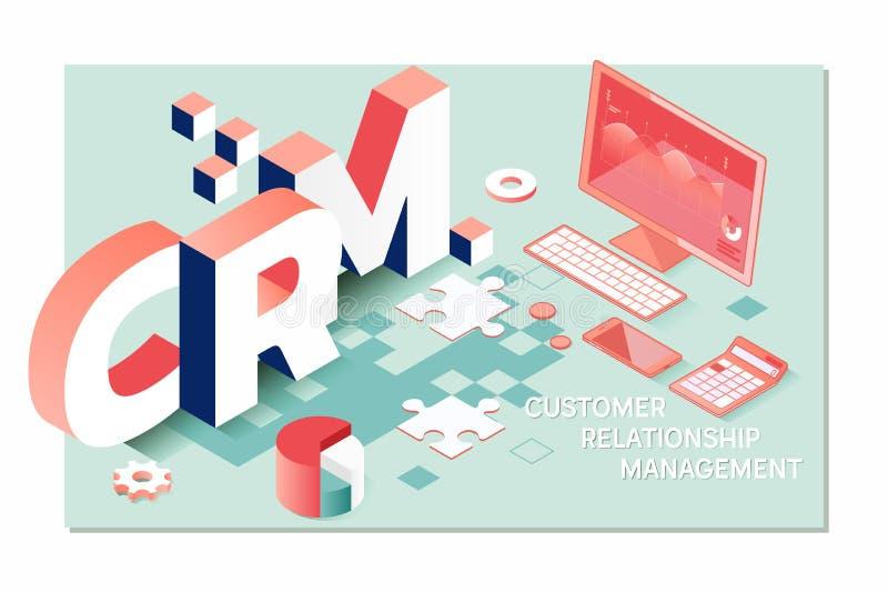 Gestión, servicio de atención al cliente y relación de CRM del cliente empresa de CRM libre illustration