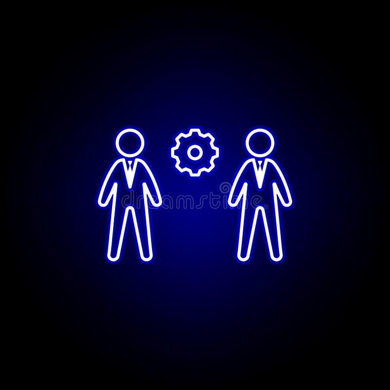 Gestión, solución, icono de los hombres de negocios Elementos del ejemplo de los recursos humanos en el icono de ne?n del estilo  ilustración del vector