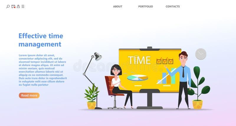 Gesti?n de tiempo eficaz del concepto, actividades de entrenamiento de planificaci?n stock de ilustración