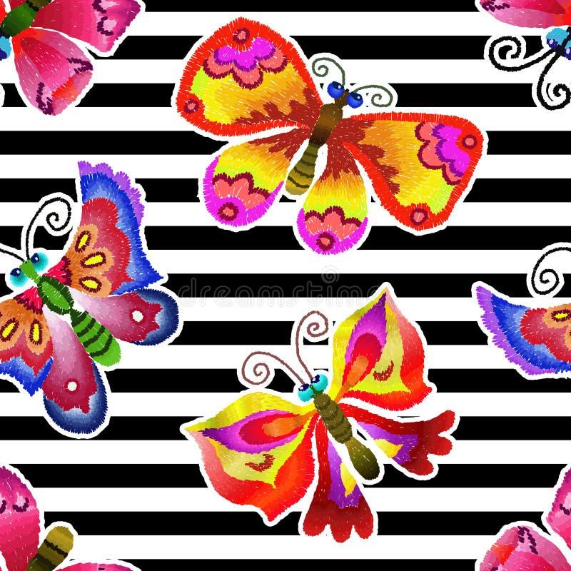 Gestickte Schmetterlinge - nahtloser Druck Schwarzweiss-Streifen lizenzfreie abbildung
