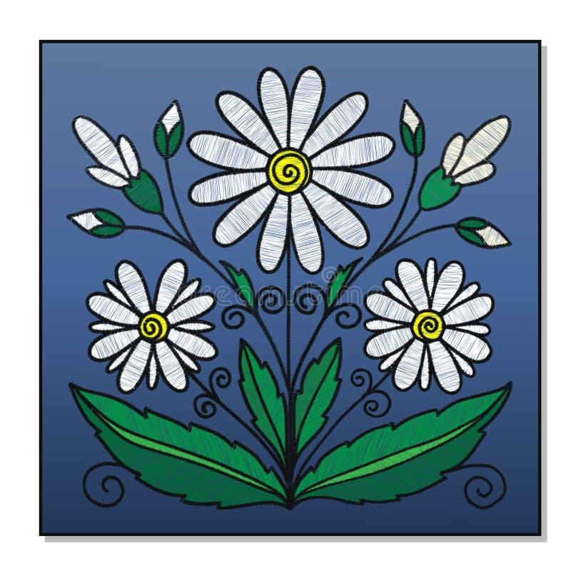 Gestickter Blumenstrauß von Gänseblümchen auf einem blauen Hintergrund lizenzfreie abbildung