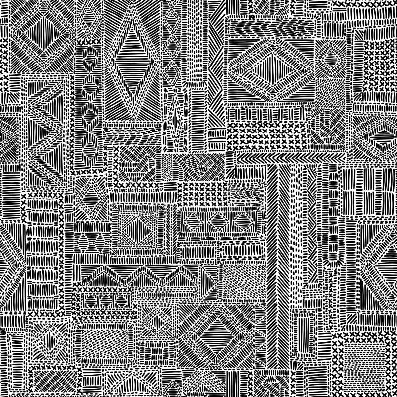 Gesticktes nahtloses Muster Komplexe Schwarzweiss-Verzierung lizenzfreie abbildung
