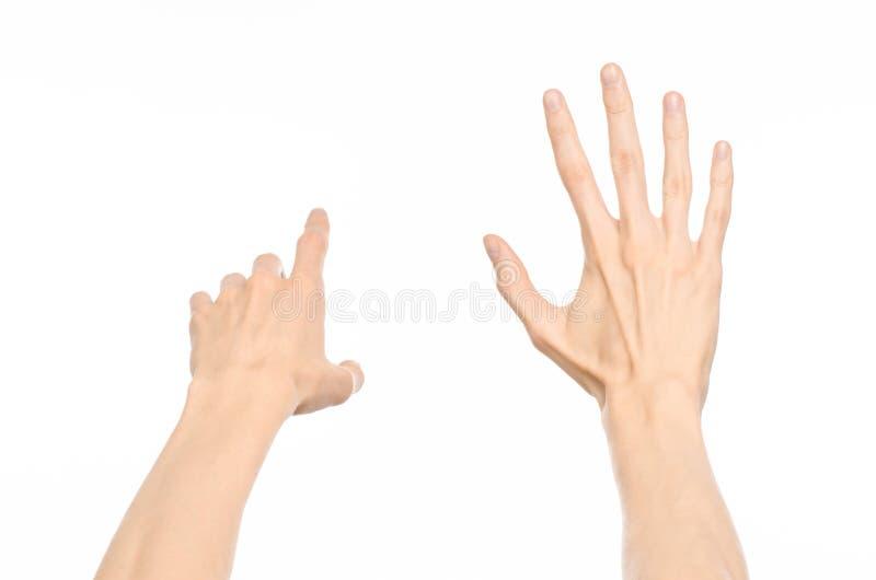 Gesticula tema: gestos de mano humanos que muestran la visión de primera persona aislada en el fondo blanco en estudio imágenes de archivo libres de regalías