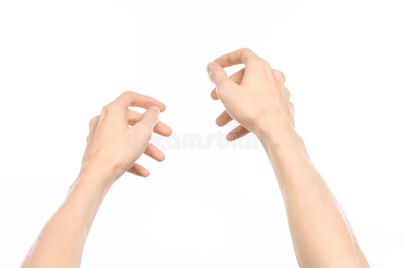 Gesticula tema: gestos de mano humanos que muestran la visión de primera persona aislada en el fondo blanco en estudio fotos de archivo