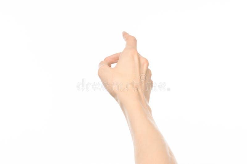 Gesticula tema: gestos de mano humanos que muestran la visión de primera persona aislada en el fondo blanco en estudio foto de archivo