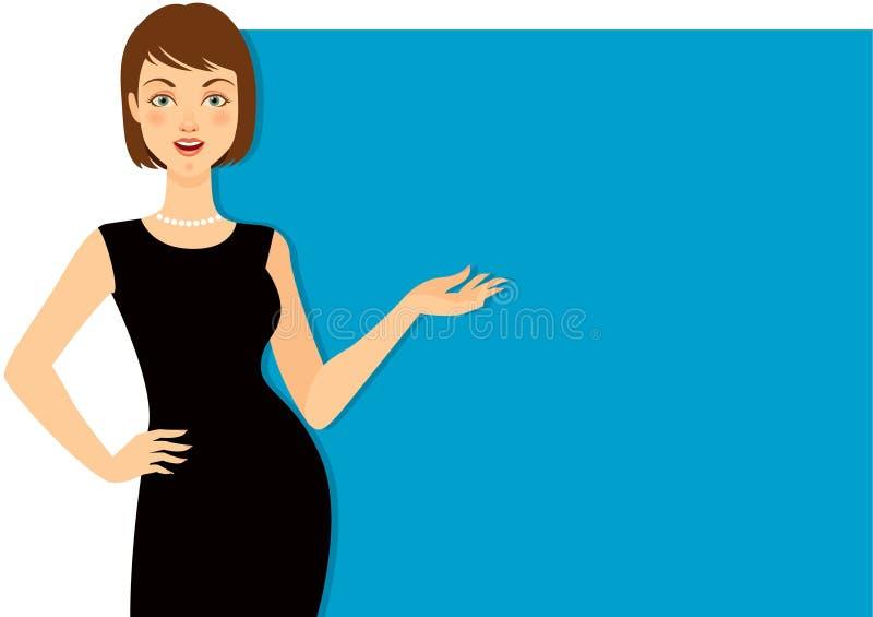 Gesticular bonito da mulher ilustração royalty free