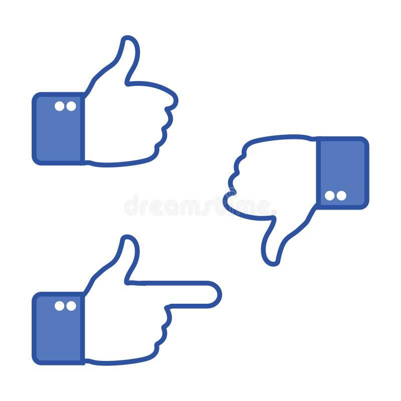 Gesticular da mão Polegares acima e polegares para baixo Como e do desagrado ícones para a rede social Aprove o sinal Ilustração  ilustração stock