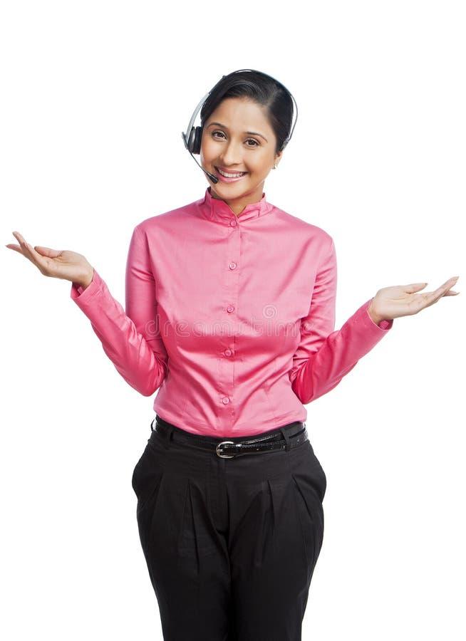Gesticular da mulher de negócios foto de stock royalty free