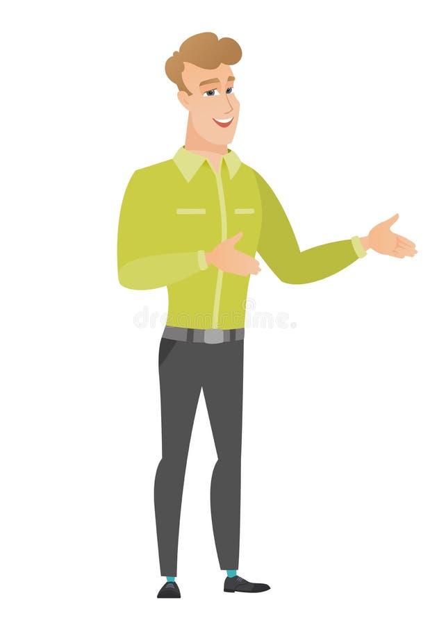 Gesticular feliz caucasiano novo do homem de negócios ilustração stock