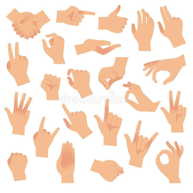 Gesticular las manos Mano con la cuenta de los gestos, muestra del índice Señal abierta de la demostración del brazo, vector de l libre illustration