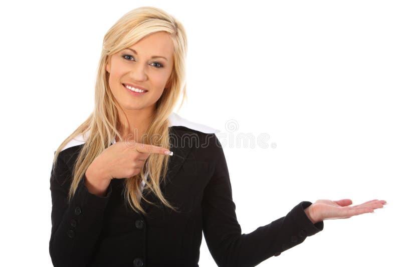 Gesticular novo da mulher de negócios foto de stock