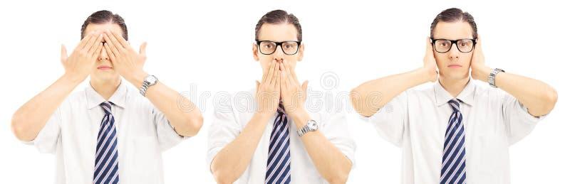 Gesticulation τριών ανθρώπων με την τύφλωση χεριών τους, speechles στοκ φωτογραφίες
