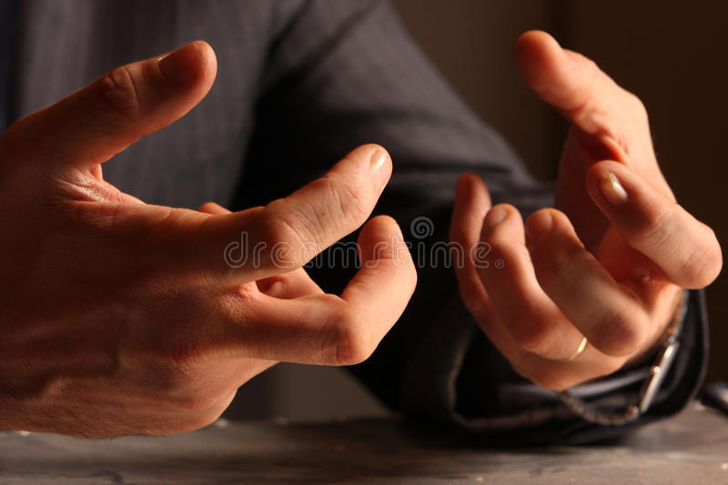 Gesticulation. Angry businessman gesticulating, hands detail royalty free stock photos